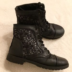 Shoes - Lace Detailed Combat Booties, Size 8